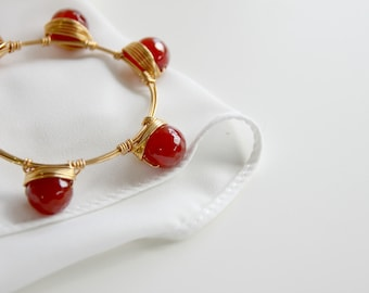 Corniola gemstone bangle