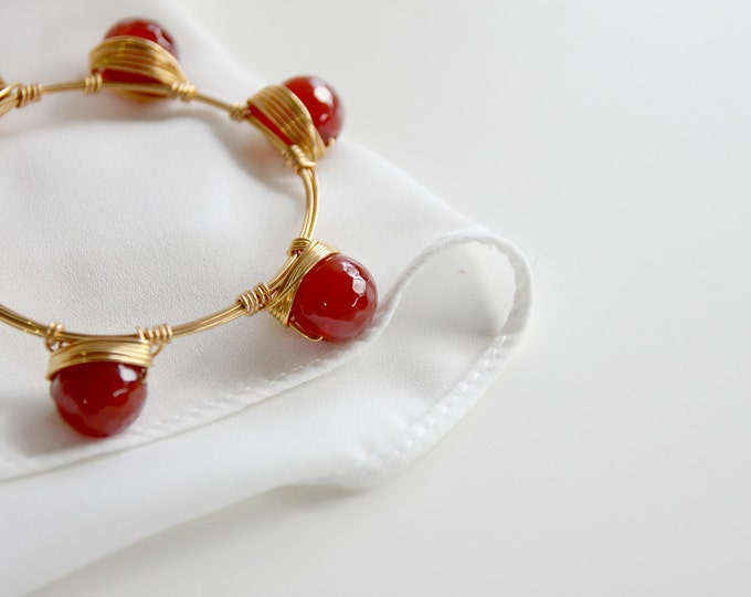 Corniola gemstone bangle