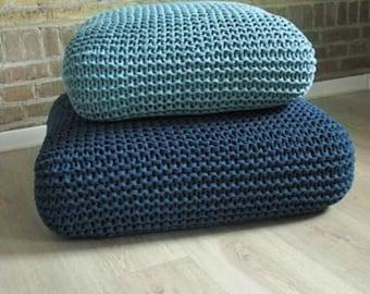 Crochet Floor Cushion-Star Pillow-Kids Floor Pillow-Off White