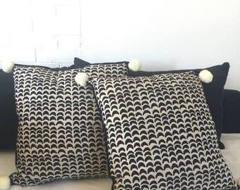 Linen Pillowcase-Pompom Linen Decorative Pillow Cover-Modern Scandinavian Pillow-Decorative Throw Pillow Covers-Linen & Cotton Pillowcase