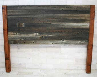 The Sylvan Queen Headboard made from Barn Wood and Reclaimed Redwood Posts
