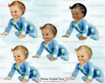Starting to Crawl | Baby Boy | Blue Aqua Romper Footie Pajamas | Clipart Instant Download
