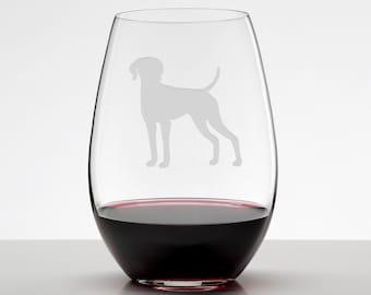 Vizsla Etched Glass Stemless Wineglass, Hungarian Vizsla, Hungarian Pointer, Magyar Vizsla