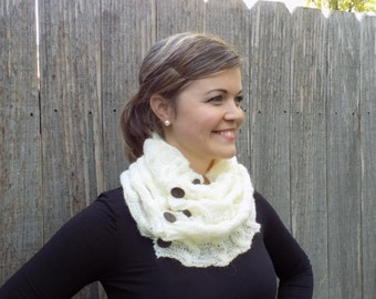 White Cozy Cable Cowl - Neck Warmer - Scarf