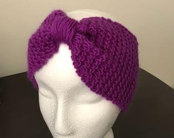Hand-knitted Wool Turban Headband