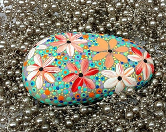 BIG Hand Painted Beach Stone / Pebble Art /Dot Painted Stone /Home Decor / Decorative Rock/ Abstract / GIFT / Original / Paperweight