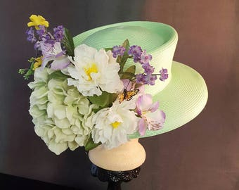 KENTUCKY DERBY Light Green and Lavender Floral Hat