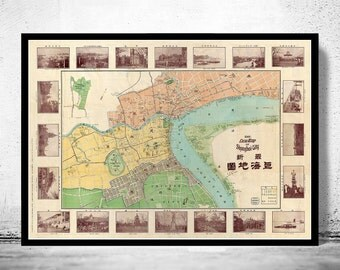 Vintage Map of Shanghai 1908 China