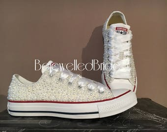 Hand customised wedding Converse All Star Chucks with White pearls , all sizes available. Personalisation available- see listing info