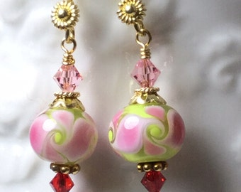 Pink and Green  Lampwork glass beads, Swarovski crystal, and Vermeil Earrings