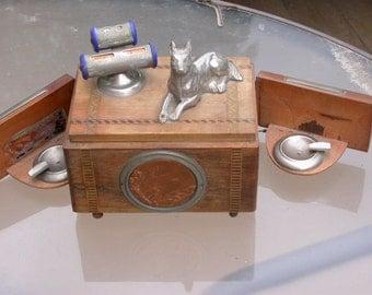 Antique wooden cigarette box metal dog sculpture calendar with secret tray copper hammered medal mirror cigar holder
