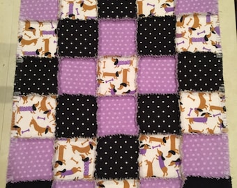 Flannel quilt, dachshund quilt, dog blanket, flannel blanket, baby blanket, nursery crib, polka dot, baby shower, ; 10% of PP to charity