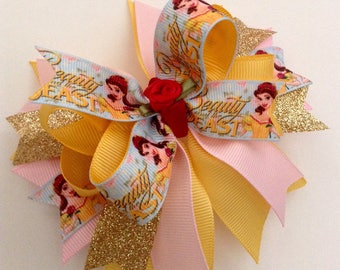 BELLE Boutique Hair Bow, Beauty and the Beast Hair Bow.