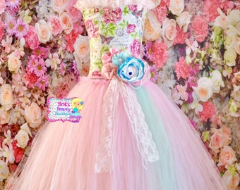 Shabby Chic Floral Lace and Pearl Full Length Tea Party Tutu Dress/Flower Girl Tutu Dress/Spring Tutu Dress/Pageant Wear/Easter Tutu Dress