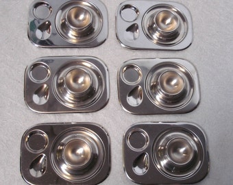50s 60s 6 Egg Cups with trays, stainless steel, German Mid Century Modern Rockabilly Era