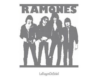 Modern cross stitch pattern Ramones punk band portrait - PDF Instant download.