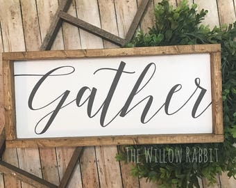 Gather   Gather Sign   Farmhouse Decor   Gather Here   Wood Gather Sign   Rustic Gather Sign