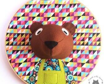 Custom bear wall art, embroidery hopp, 3D portrait, 3D wall art, nursery decor, animal portrait, wall hanging, woodland themed bedroom,
