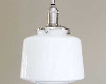 School House Pendant Light White Glass Globe Drum Style Fixture