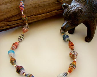 Paper Bead Necklaces, Paper Bead Jewelry, Handmade Jewelry, Beaded Necklaces, Paper Jewelry, Paper Necklaces, Stretch Necklaces