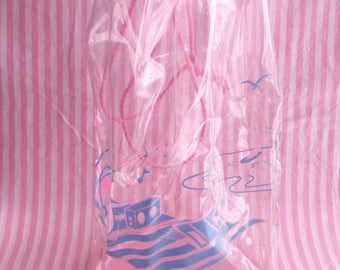 Transparent Plastic Pink Beach Bag Vintage 80s