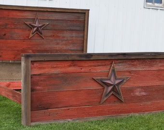 """The """"Rustic Star"""" Bed - Authentic Barn Wood Bed - Complete Set - Headboard, Footboard, Side Rails & 2 Nightstands - Full, Queen or King"""