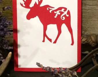 Cards Free Shipping Note & Thank You Moose Set of 10 White on Red, Green, Grey, Black, Brown or Blue Background With  Envelopes