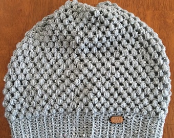 The Puff Beanie - Gray/silver sequin colored yarnslouchy beanie, hat, winter accessory, perfect gift for women, teens, mom, daughter
