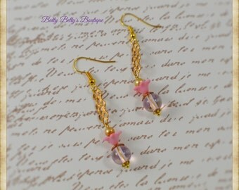 Russian Gold Pink Floral Dangle Earrings