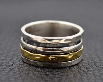 Handmade Sterling Silver and Brass Ring 6
