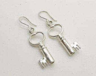 Sterling silver key earrings 19th century jewel box keys inspired hallmarked handmade.