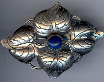 KALO HAND WROUGHT vintage sterling silver leaves & blue lapis like stone pin brooch*