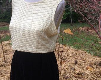 Sixties cream silk shell tank top sleeveless large summer blouse