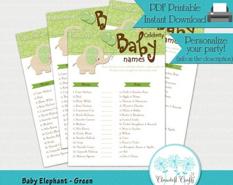 Baby Elephant - Green Celebrity Baby Names Baby Shower Game Card