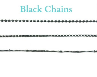 Glass Memory Locket Chain, Black Stainless Steel in 3 Styles & Lengths, Personalized Floating Charm Locket Chain, Ball Station or Bead Chain