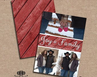 CUSTOM Christmas/Holiday Card - Rustic Red Wooden Planks