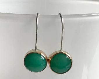 Green chrysoprase earrings, Green and gold bezel earrings, Green drop earrings