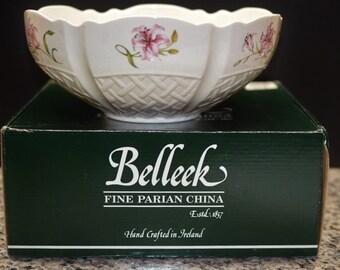 "Belleek Bowl w/box 9"" Country Trellis NEVER USED Vintage Ireland"