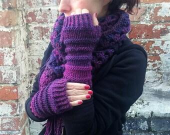 Knit fingerless gloves , Purple gloves .Women's arm warmers  knit wristwarmers  Festival accessories