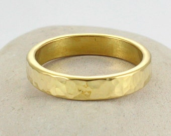Personalized Gold Band - Handmade, hammered brass Ring - Men's Gold Band - Wedding band