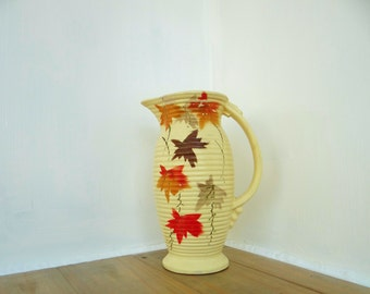 Vintage Vase Jug  Art Deco Handpainted Leaf Design Orange Cream Brown Made in England Windsor Circa 1920's