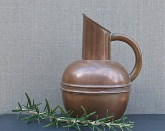 vintage French copper jug, early 1900's, old pharmacy vessel, vintage home decor, interesting kitchen display & storage, made in France