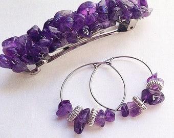 Amethyst Gemstone Earrings Barrette Set