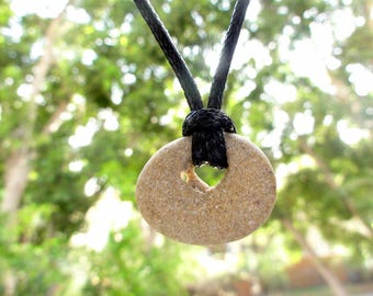 Natural Holey Beach Sea Stone Pendant Necklace Jewelry Gift Unisex Jewelry Israel Faux Suede Cord