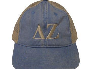 Delta Zeta (S) Comfort Colors Denim Trucker Baseball Hat Letters Ivory Thread