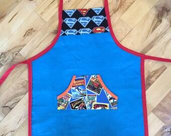 Superman Apron, Superhero Apron, Blue Apron