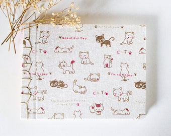 Notebook japanese handmade bookbinding, cats notebook, cat, diary, planner, travel notebook, stationery, sketchbook, golden details