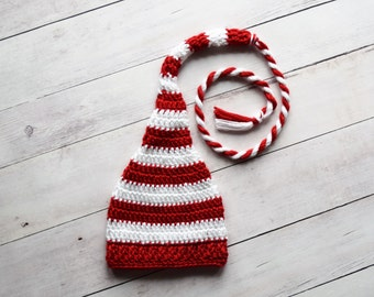 Newborn Elf Hat - Newborn Christmas Hat - Red and White Candy Cane Long Tail Hat - Christmas Photo Prop Hat - Ready to ship - RTS