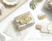 White chocolate dipped Viennese Whirls Biscuits (Sablès Viennois) Gift Box- Dollhouse Miniature in 1/12 Scale
