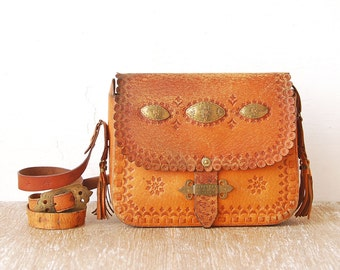 Vintage Tooled Leather Handbag, 80s Leather Tooled Purse, Leather Brass Plate Crossbody Bag